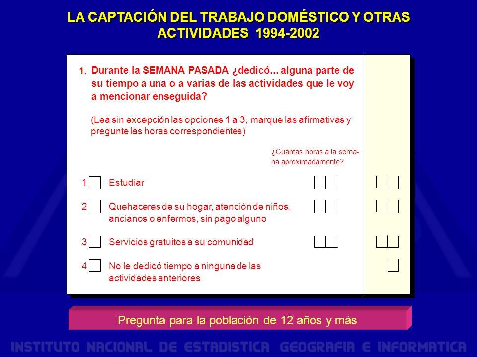 LA CAPTACIÓN DEL TRABAJO DOMÉSTICO Y OTRAS ACTIVIDADES 1994-2002