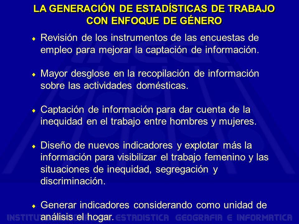 LA GENERACIÓN DE ESTADÍSTICAS DE TRABAJO CON ENFOQUE DE GÉNERO
