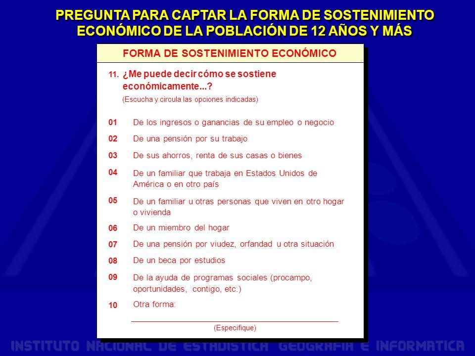 PREGUNTA PARA CAPTAR LA FORMA DE SOSTENIMIENTO ECONÓMICO DE LA POBLACIÓN DE 12 AÑOS Y MÁS