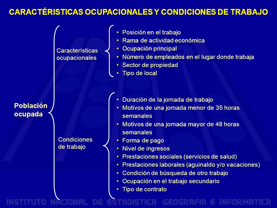 CARACTÉRISTICAS OCUPACIONALES Y CONDICIONES DE TRABAJO