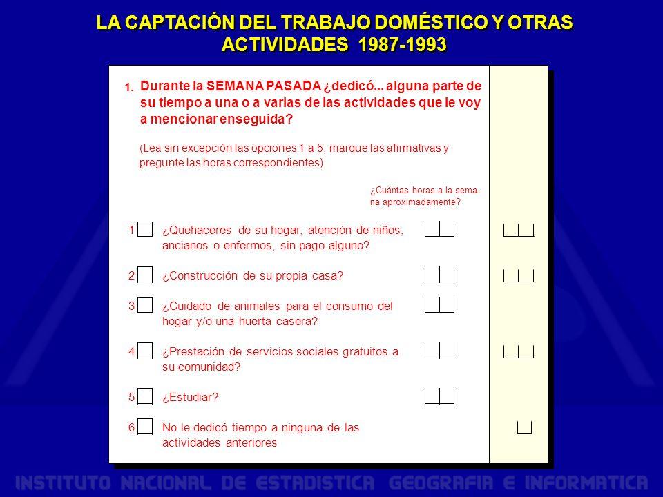 LA CAPTACIÓN DEL TRABAJO DOMÉSTICO Y OTRAS ACTIVIDADES 1987-1993