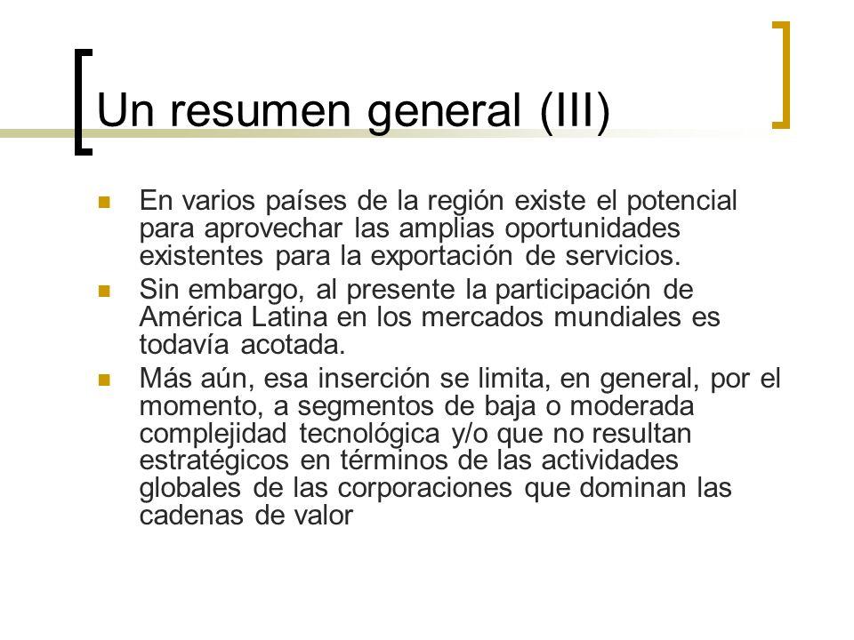 Un resumen general (III)