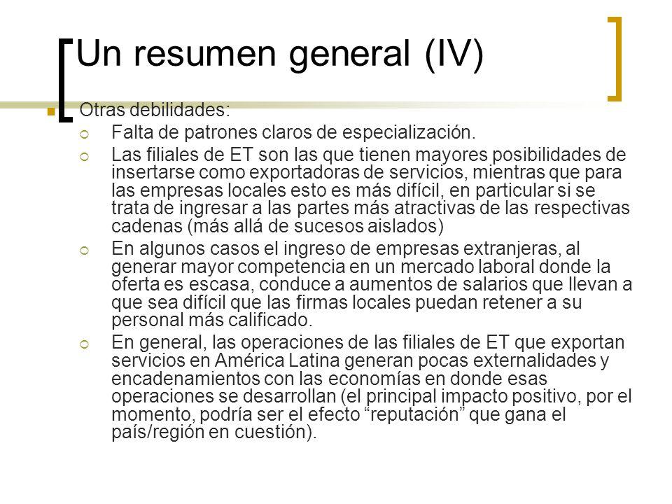 Un resumen general (IV)