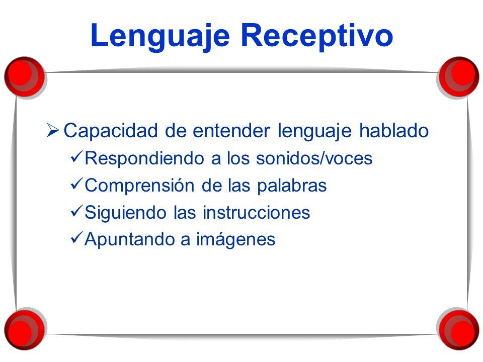 Lenguaje Receptivo Capacidad de entender lenguaje hablado