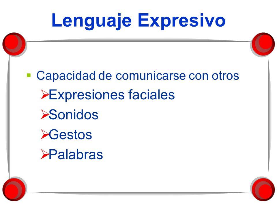 Lenguaje Expresivo Expresiones faciales Sonidos Gestos Palabras