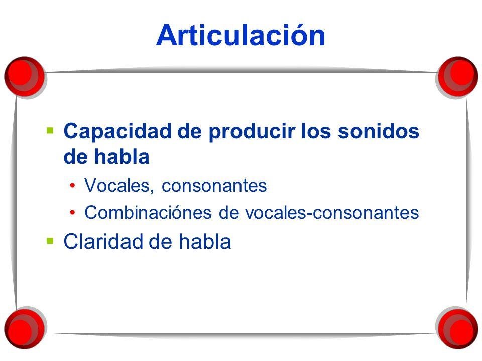 Articulación Capacidad de producir los sonidos de habla