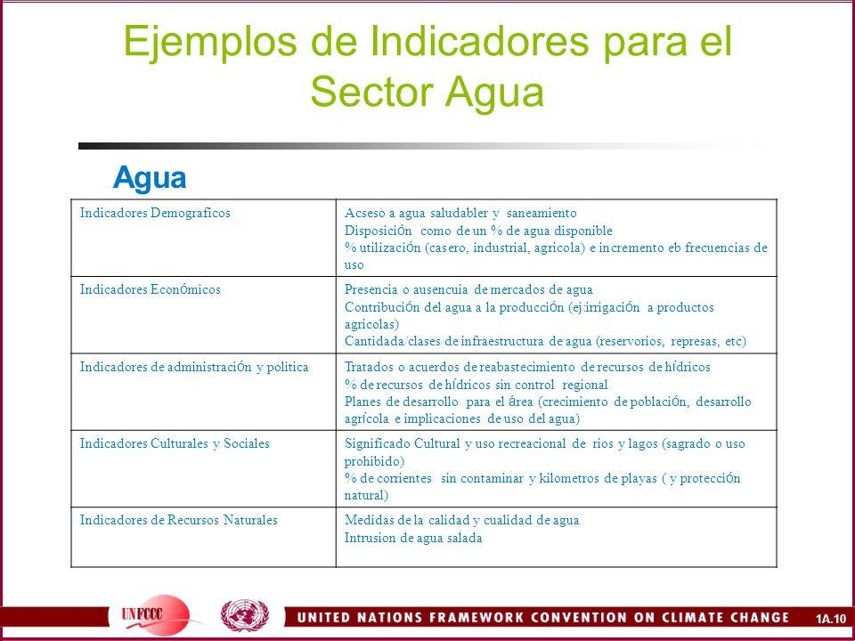 Ejemplos de Indicadores para el Sector Agua
