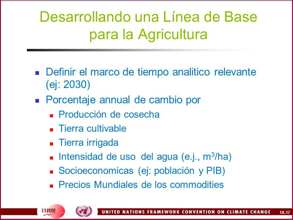 Desarrollando una Línea de Base para la Agricultura