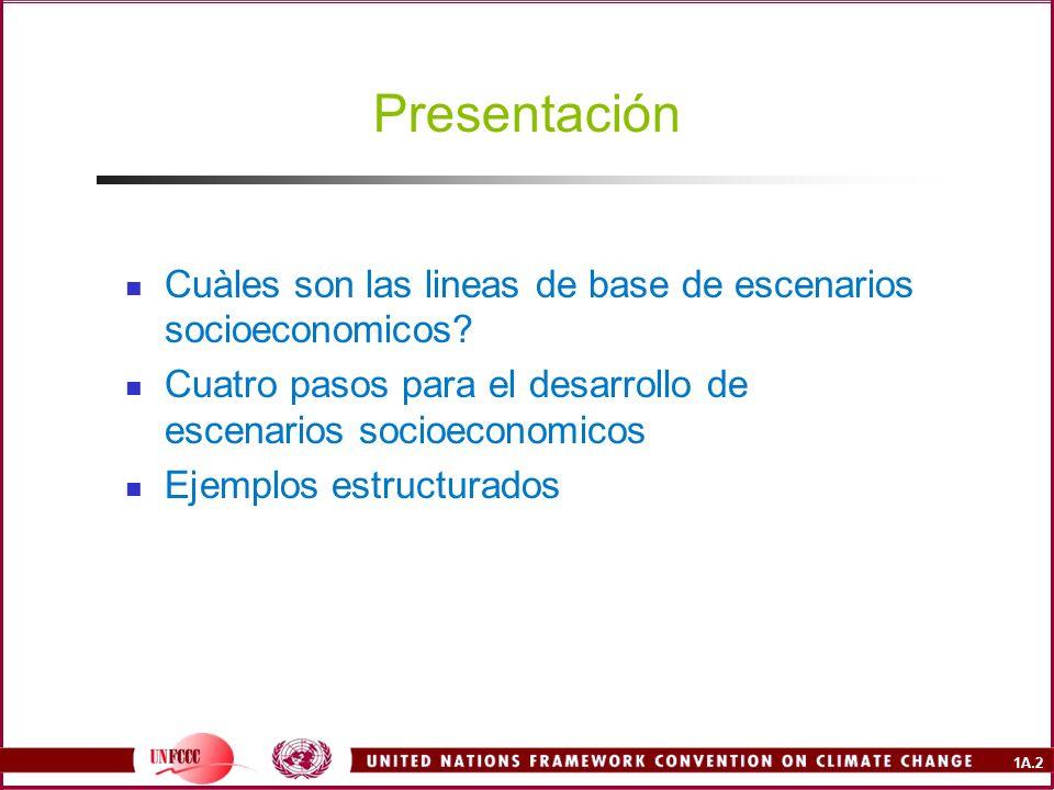 Presentación Cuàles son las lineas de base de escenarios socioeconomicos Cuatro pasos para el desarrollo de escenarios socioeconomicos.