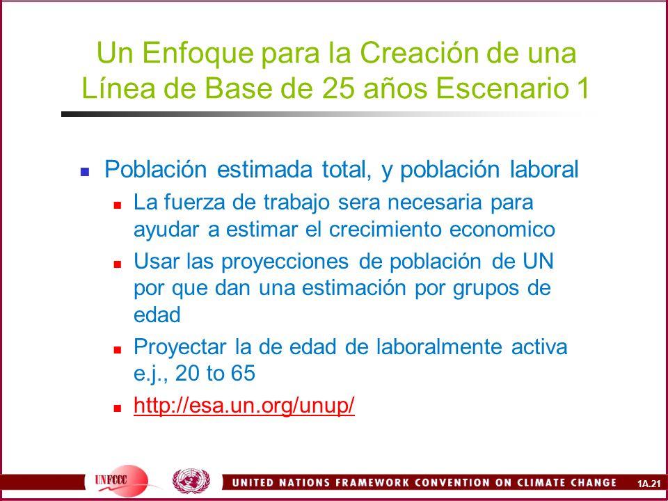 Un Enfoque para la Creación de una Línea de Base de 25 años Escenario 1