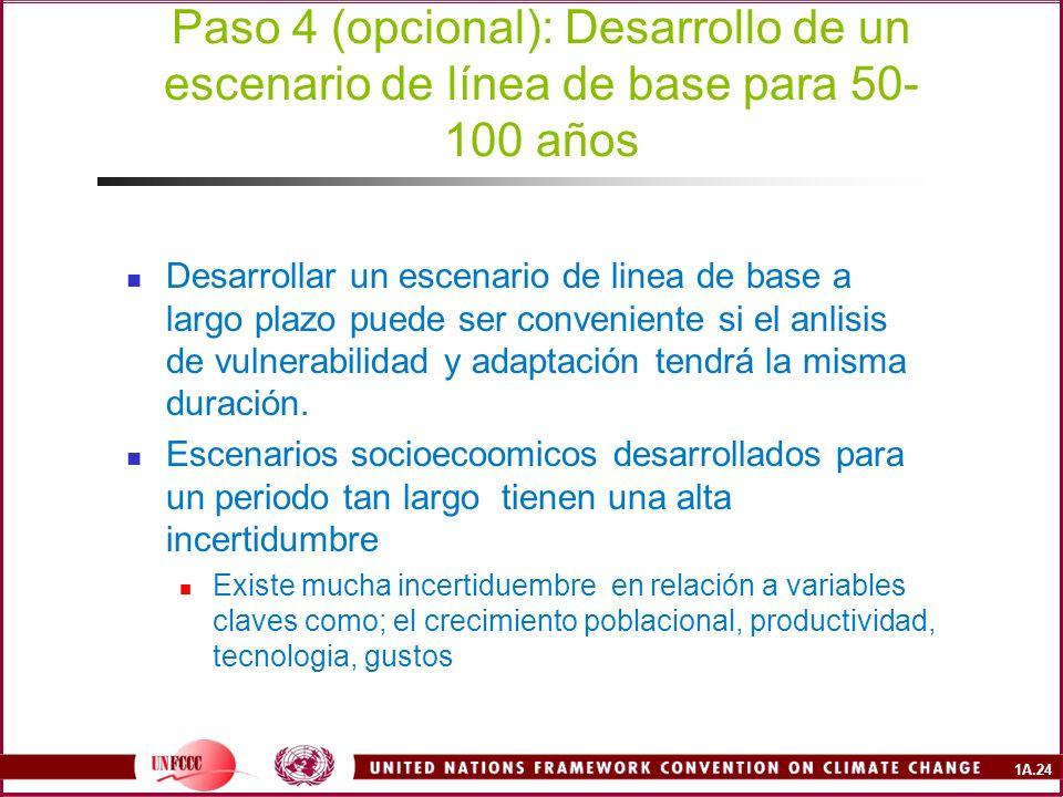 Paso 4 (opcional): Desarrollo de un escenario de línea de base para 50-100 años