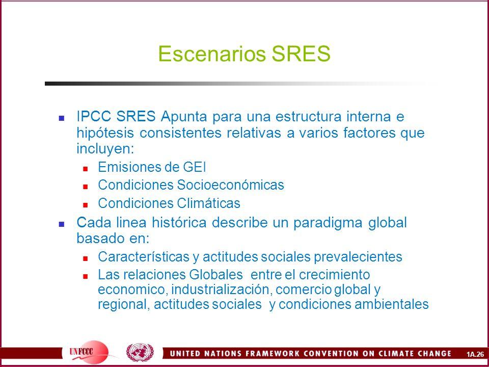 Escenarios SRES IPCC SRES Apunta para una estructura interna e hipótesis consistentes relativas a varios factores que incluyen: