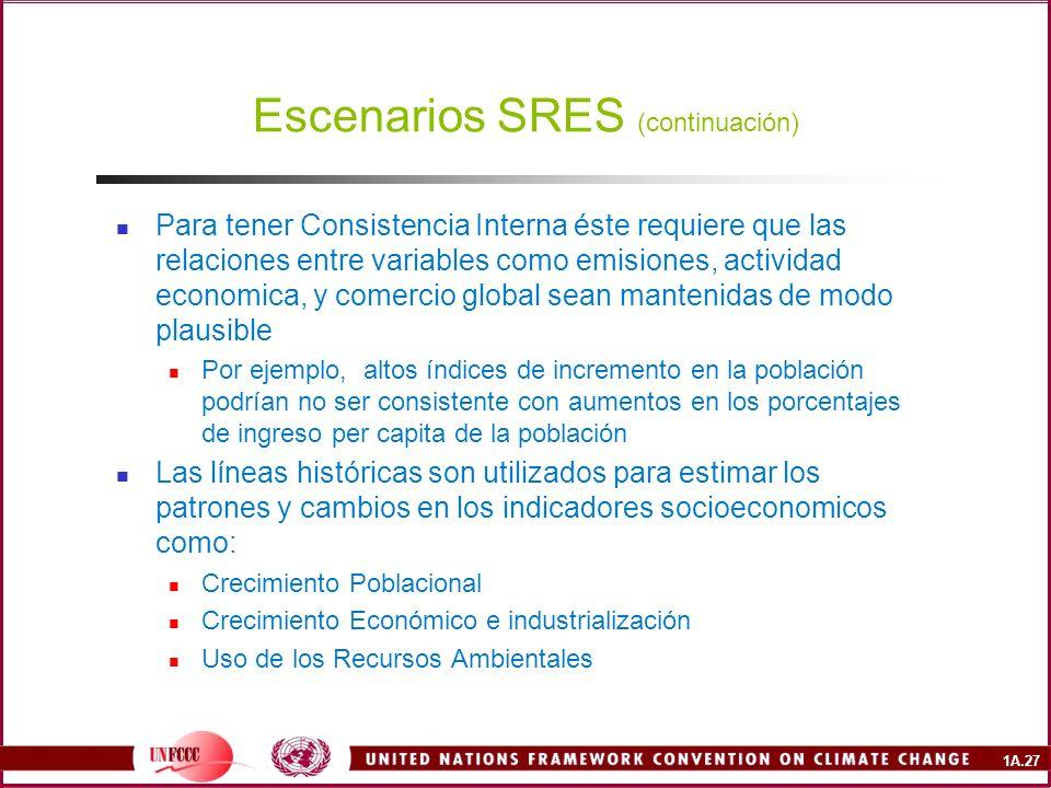Escenarios SRES (continuación)