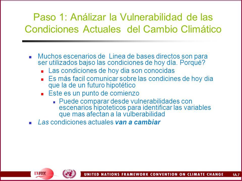 Paso 1: Análizar la Vulnerabilidad de las Condiciones Actuales del Cambio Climático