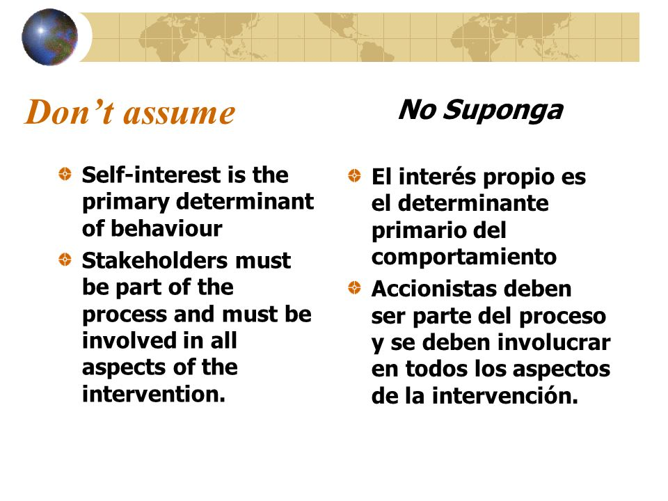 Don't assume No Suponga