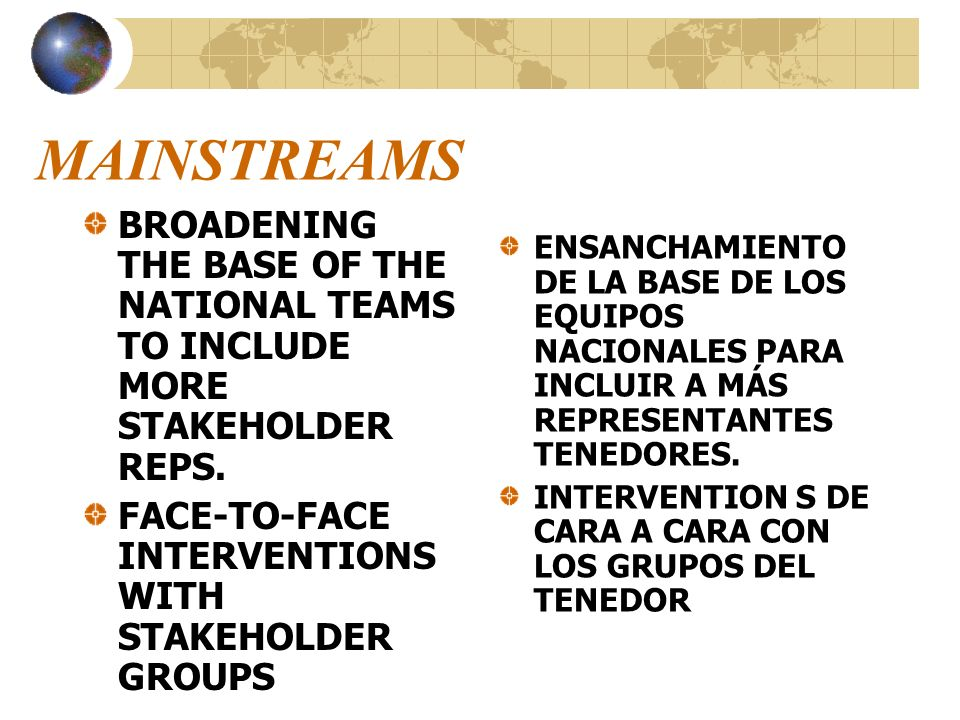 MAINSTREAMS BROADENING THE BASE OF THE NATIONAL TEAMS TO INCLUDE MORE STAKEHOLDER REPS. FACE-TO-FACE INTERVENTIONS WITH STAKEHOLDER GROUPS.