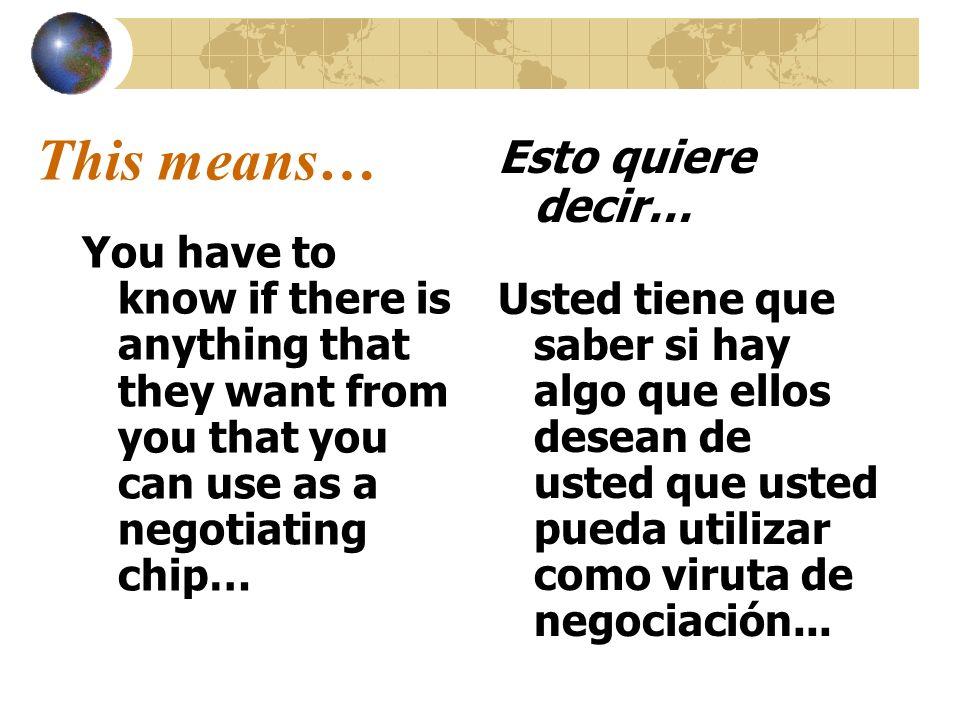 This means… Esto quiere decir…