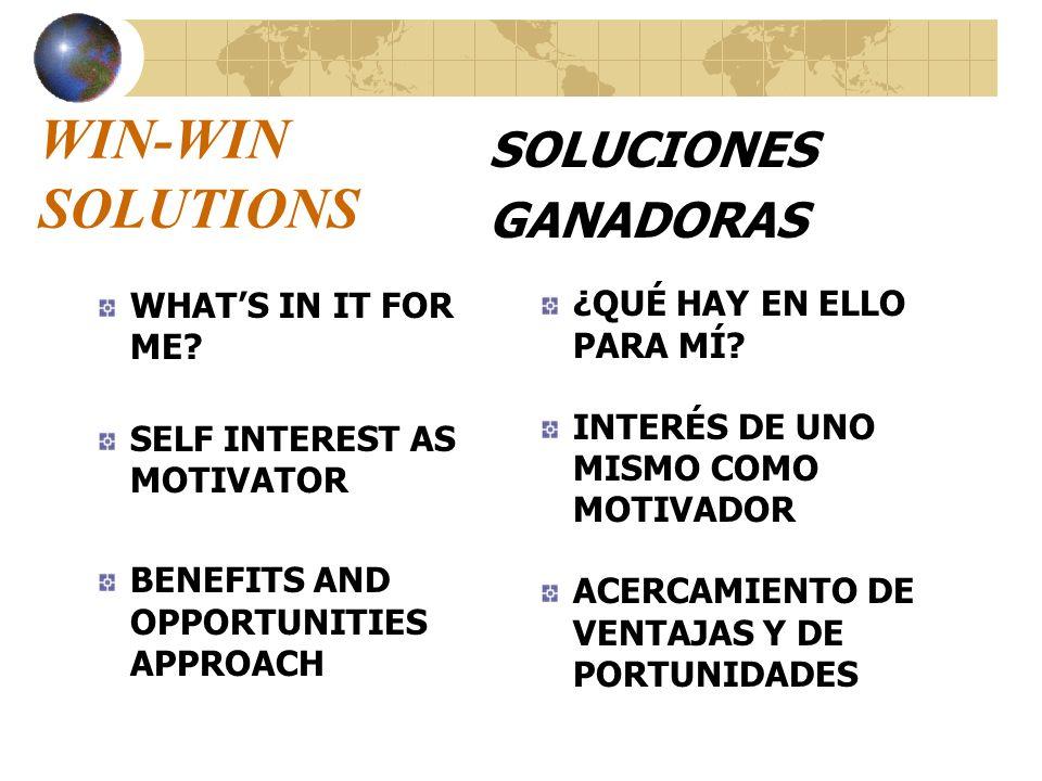 WIN-WIN SOLUTIONS SOLUCIONES GANADORAS ¿QUÉ HAY EN ELLO PARA MÍ