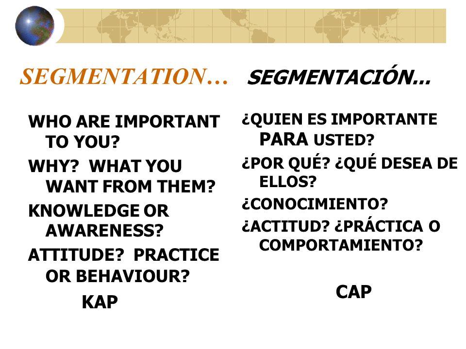 SEGMENTATION… KAP WHO ARE IMPORTANT TO YOU