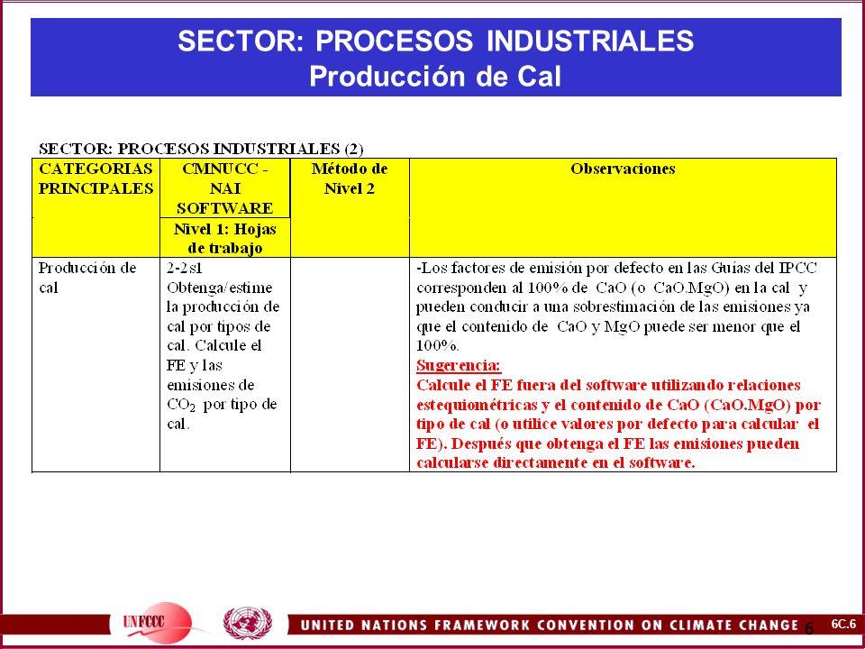SECTOR: PROCESOS INDUSTRIALES Producción de Cal