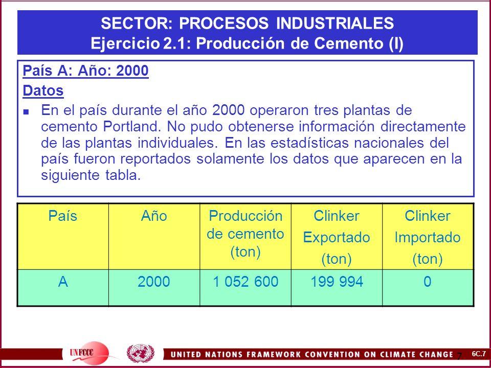 SECTOR: PROCESOS INDUSTRIALES Ejercicio 2.1: Producción de Cemento (I)