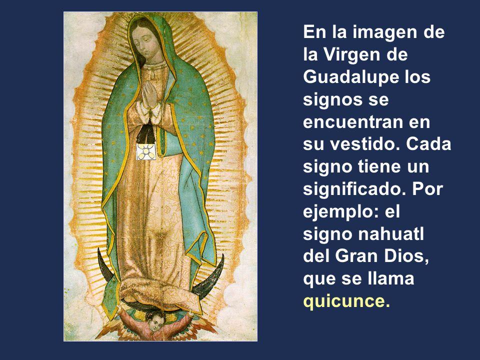 En la imagen de la Virgen de Guadalupe los signos se encuentran en su vestido.
