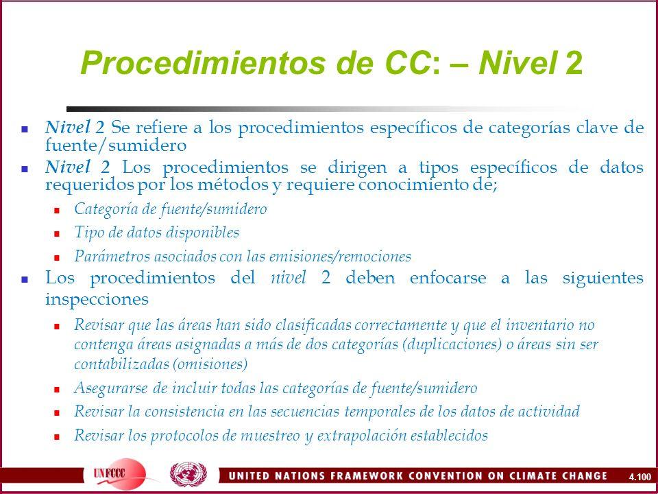 Procedimientos de CC: – Nivel 2