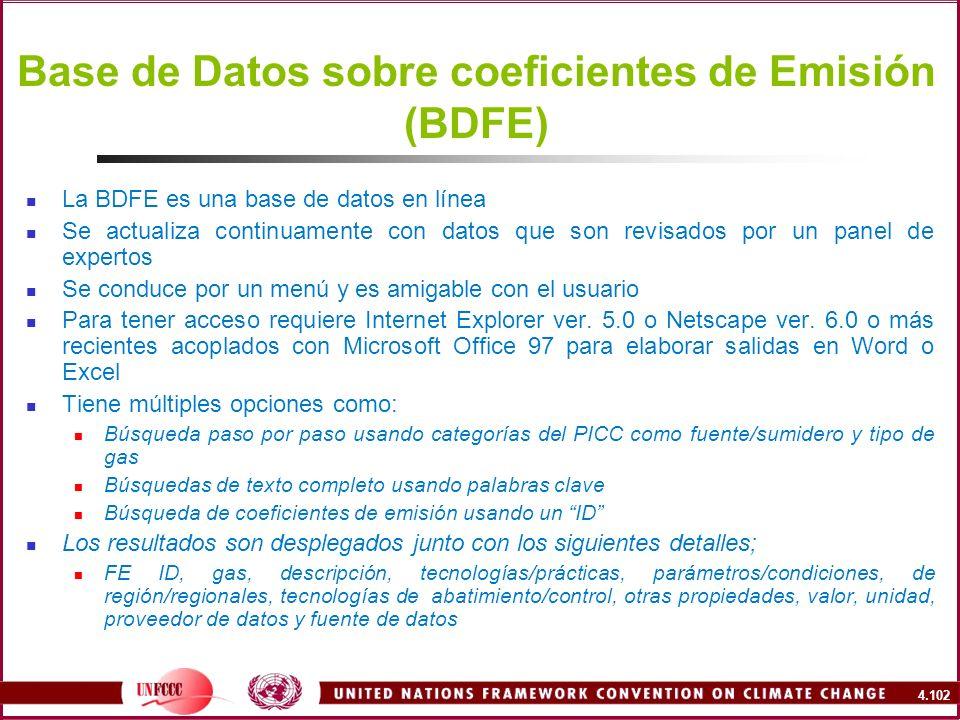 Base de Datos sobre coeficientes de Emisión (BDFE)
