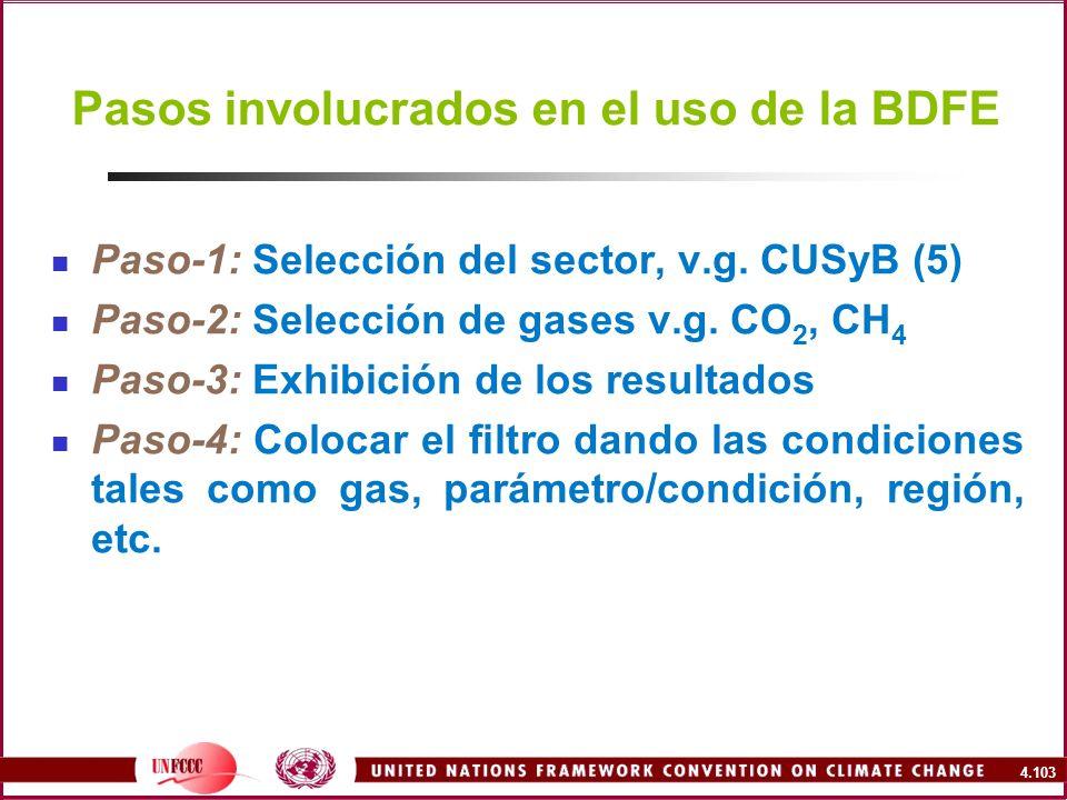 Pasos involucrados en el uso de la BDFE