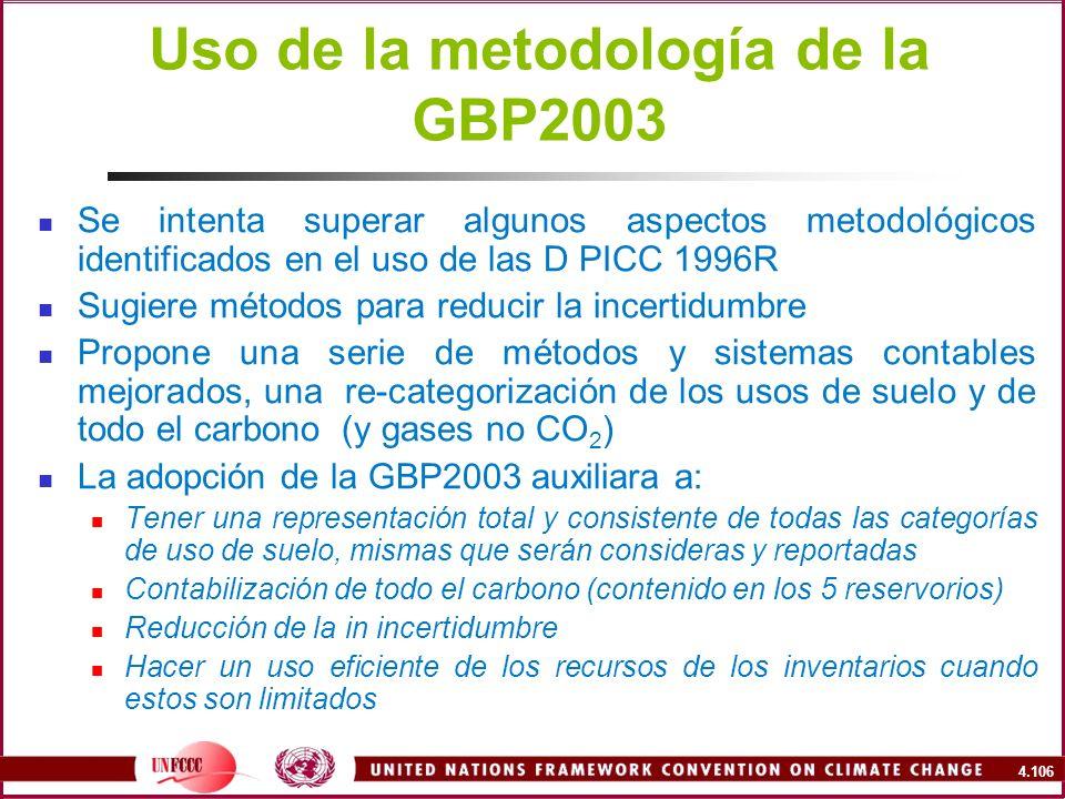 Uso de la metodología de la GBP2003