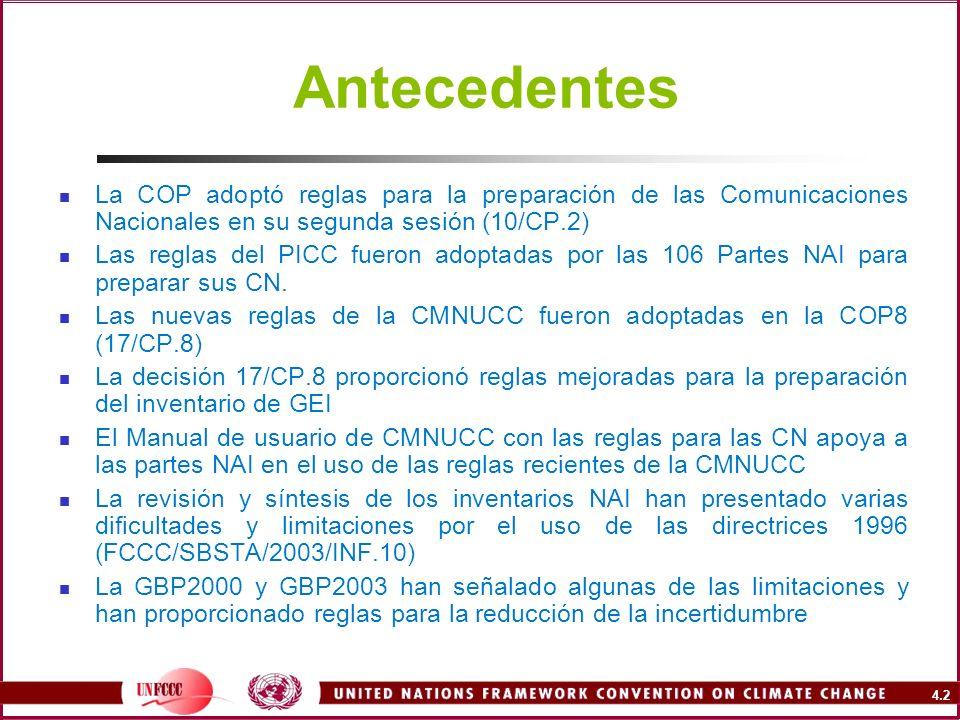 Antecedentes La COP adoptó reglas para la preparación de las Comunicaciones Nacionales en su segunda sesión (10/CP.2)
