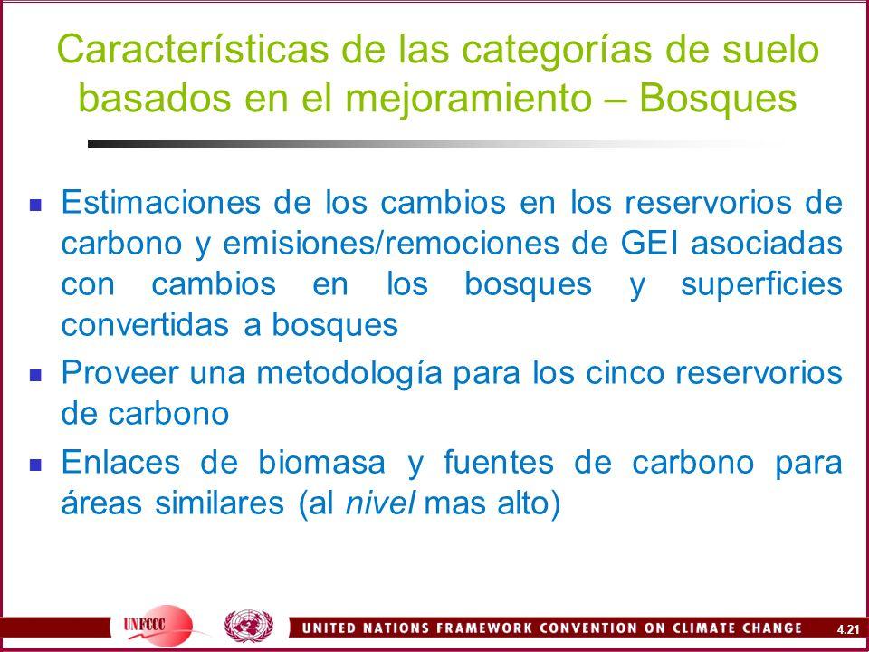 Características de las categorías de suelo basados en el mejoramiento – Bosques