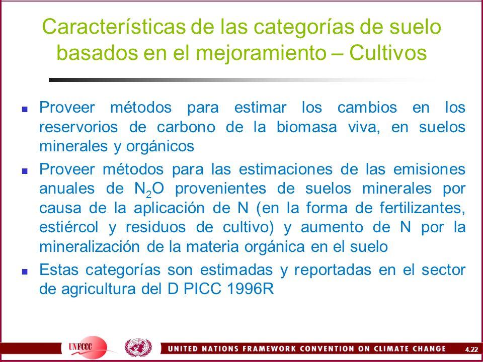 Características de las categorías de suelo basados en el mejoramiento – Cultivos