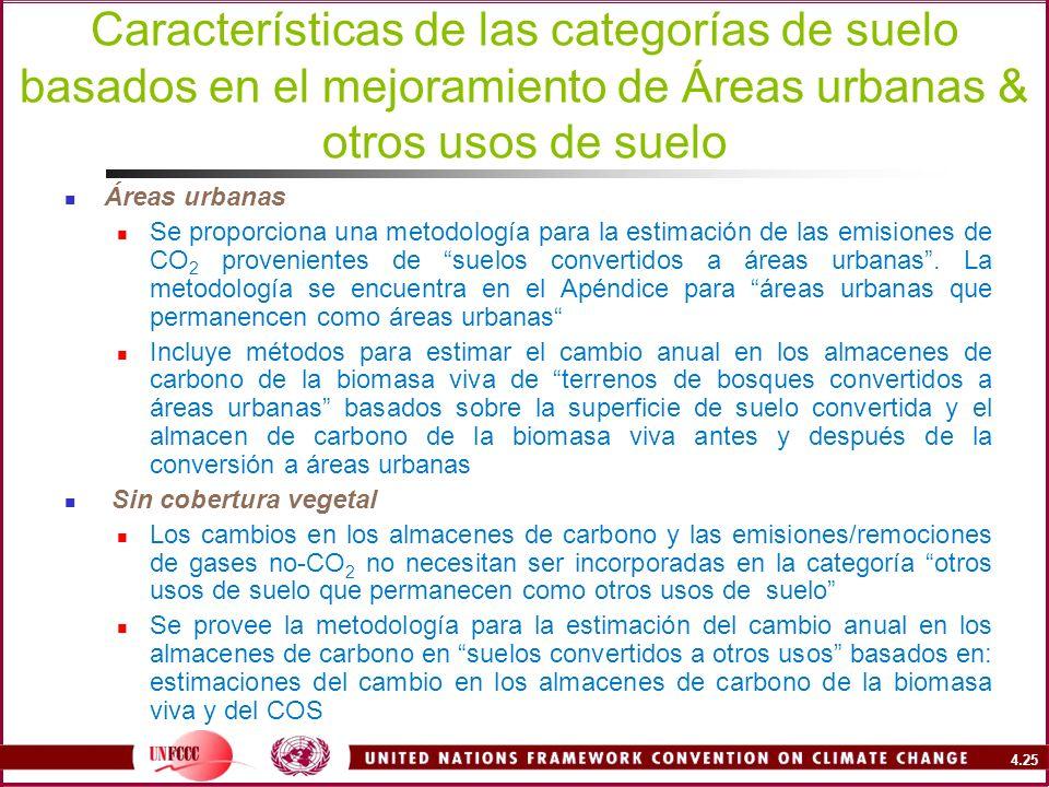 Características de las categorías de suelo basados en el mejoramiento de Áreas urbanas & otros usos de suelo