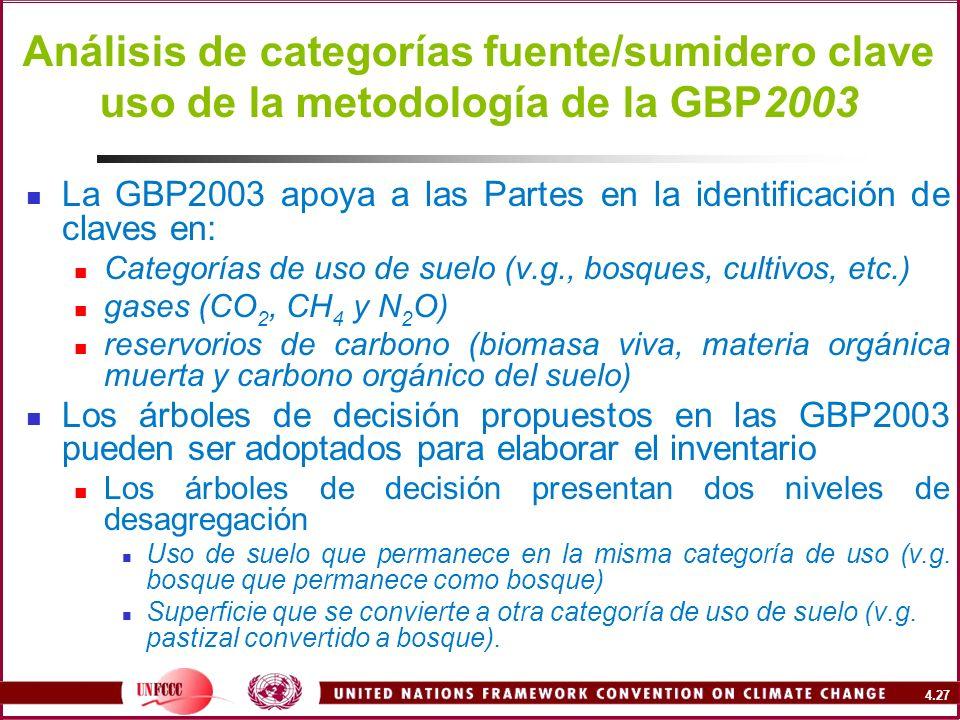 Análisis de categorías fuente/sumidero clave uso de la metodología de la GBP2003