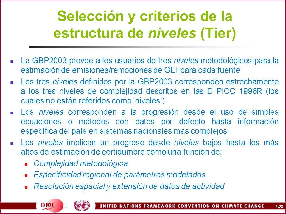 Selección y criterios de la estructura de niveles (Tier)