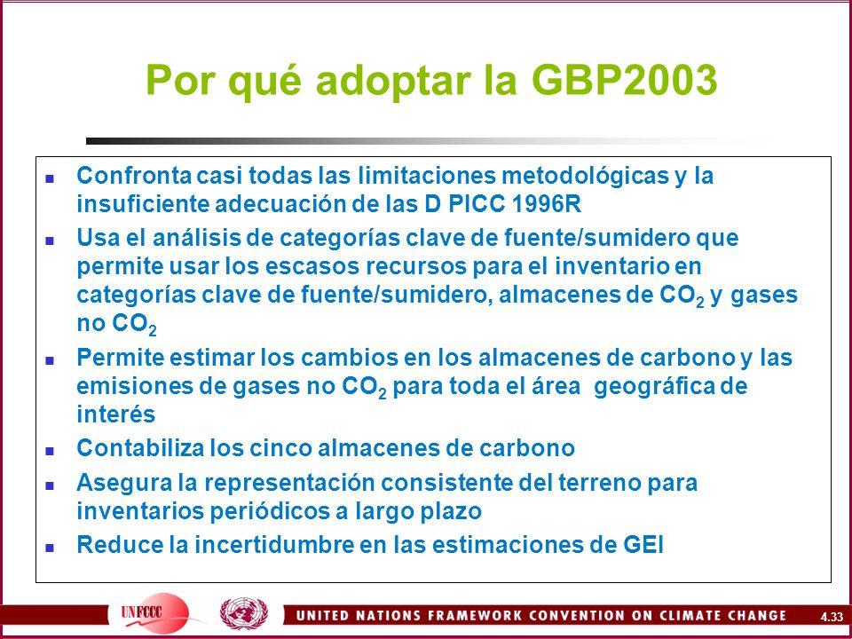 Por qué adoptar la GBP2003 Confronta casi todas las limitaciones metodológicas y la insuficiente adecuación de las D PICC 1996R.