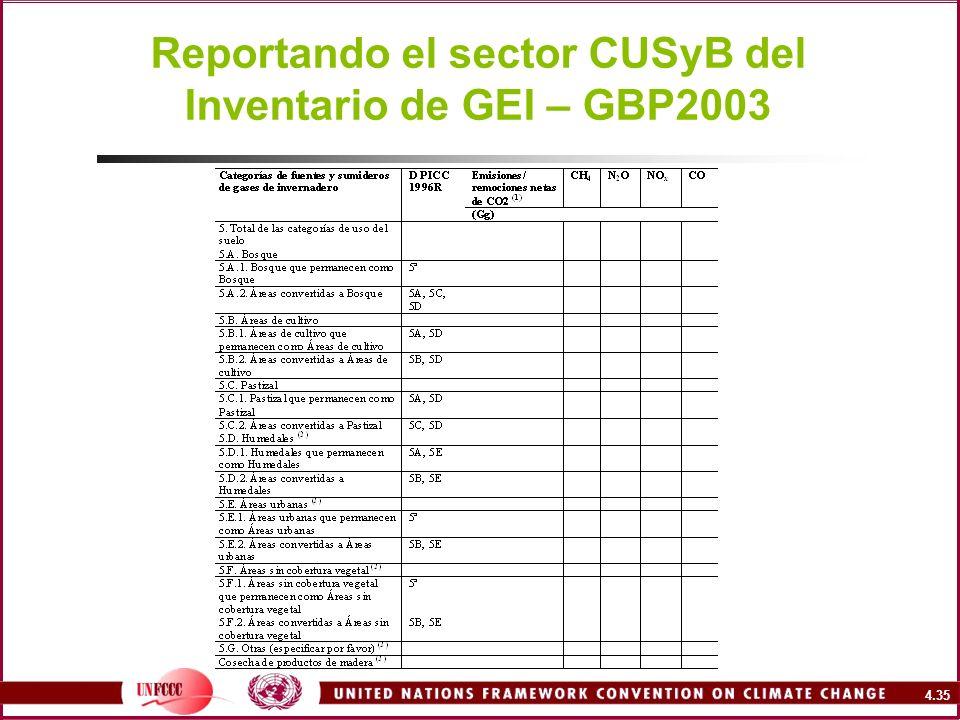 Reportando el sector CUSyB del Inventario de GEI – GBP2003