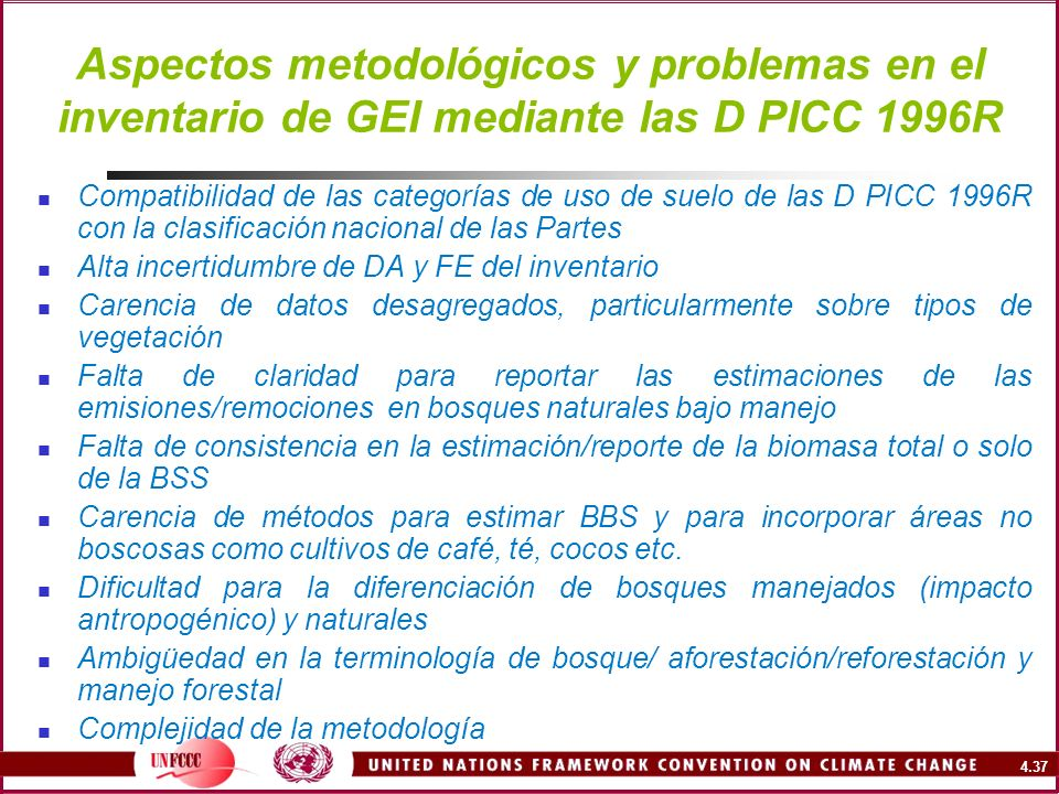 Aspectos metodológicos y problemas en el inventario de GEI mediante las D PICC 1996R