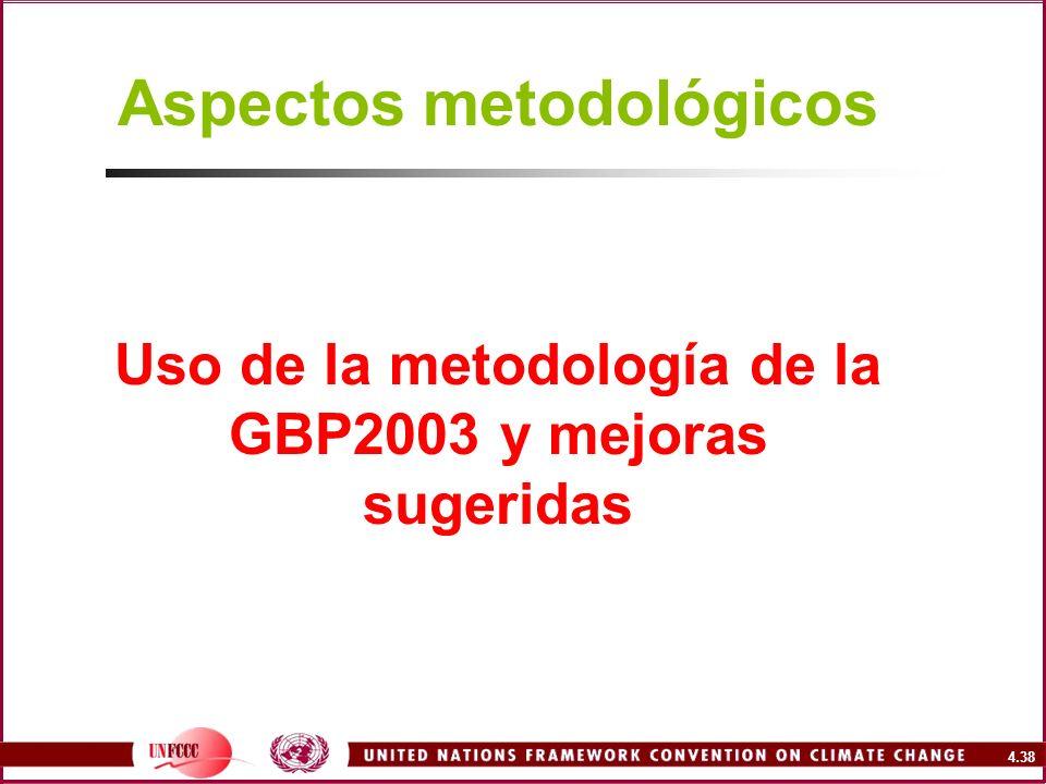 Aspectos metodológicos Uso de la metodología de la GBP2003 y mejoras sugeridas