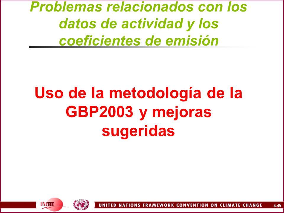 Problemas relacionados con los datos de actividad y los coeficientes de emisión Uso de la metodología de la GBP2003 y mejoras sugeridas