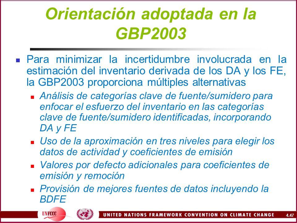 Orientación adoptada en la GBP2003