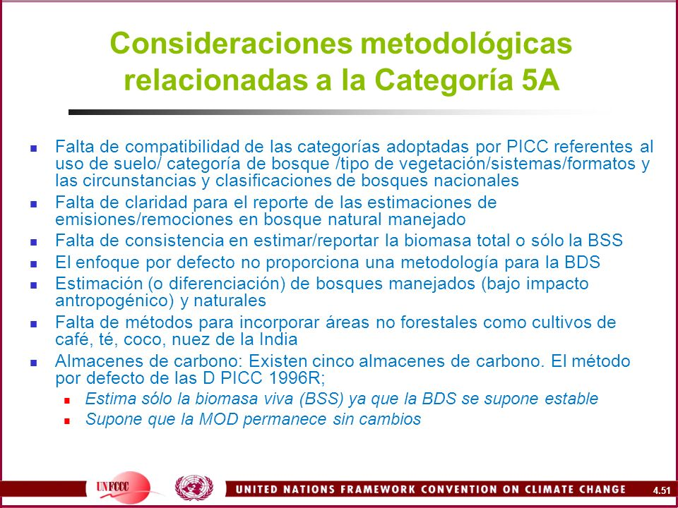Consideraciones metodológicas relacionadas a la Categoría 5A
