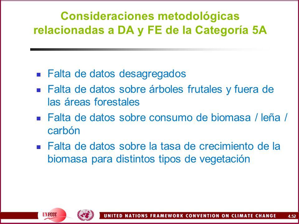 Consideraciones metodológicas relacionadas a DA y FE de la Categoría 5A