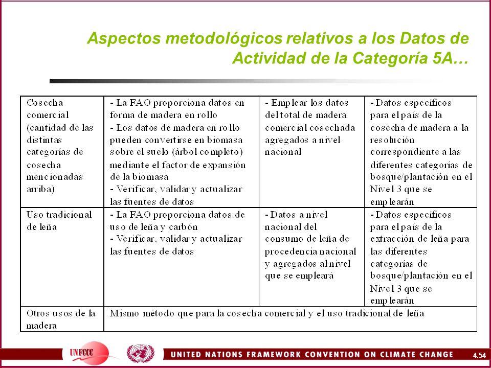 Aspectos metodológicos relativos a los Datos de Actividad de la Categoría 5A…
