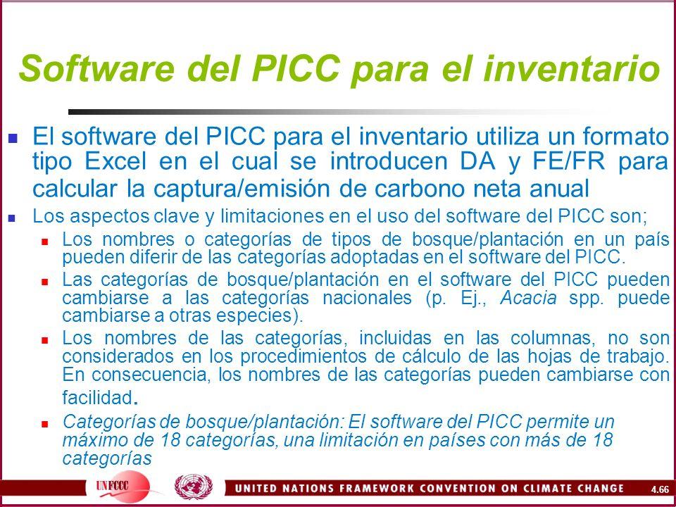 Software del PICC para el inventario