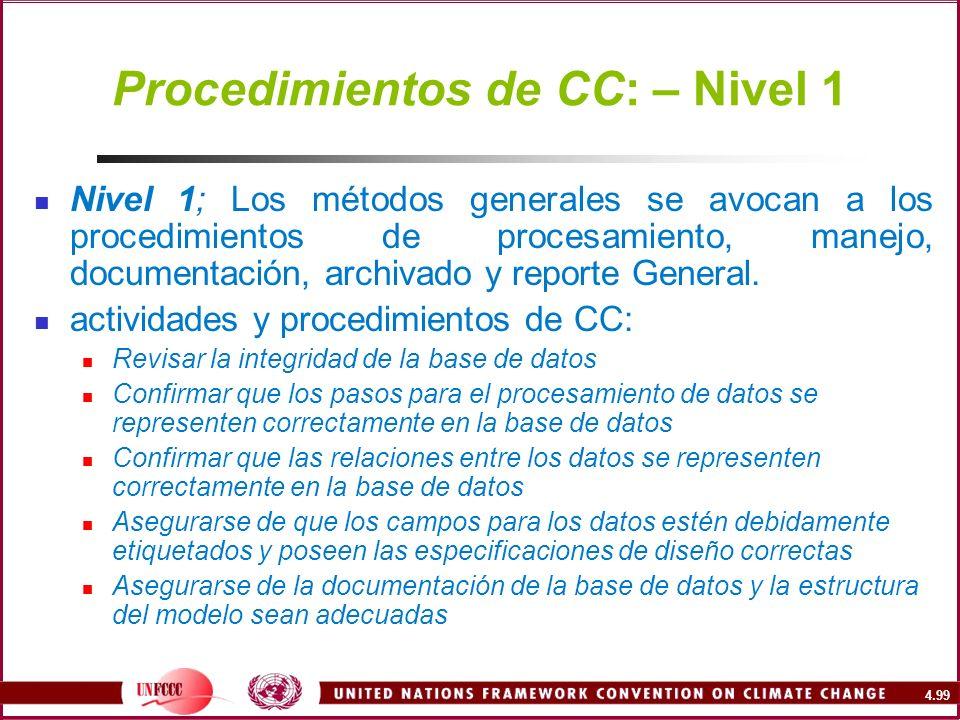 Procedimientos de CC: – Nivel 1
