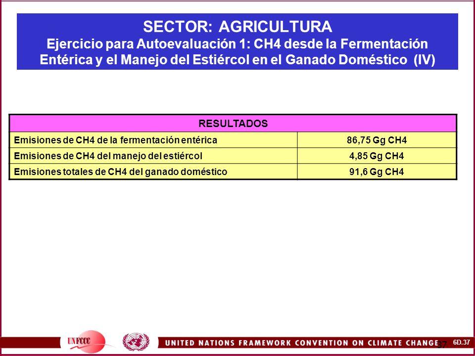 SECTOR: AGRICULTURA Ejercicio para Autoevaluación 1: CH4 desde la Fermentación Entérica y el Manejo del Estiércol en el Ganado Doméstico (IV)