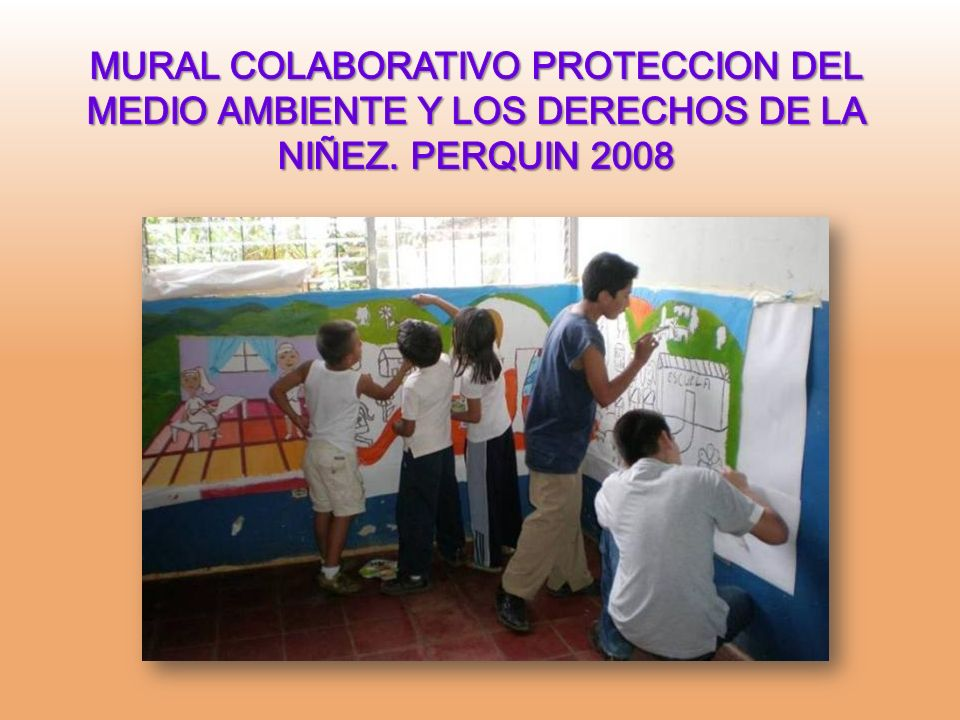 MURAL COLABORATIVO PROTECCION DEL MEDIO AMBIENTE Y LOS DERECHOS DE LA NIÑEZ. PERQUIN 2008