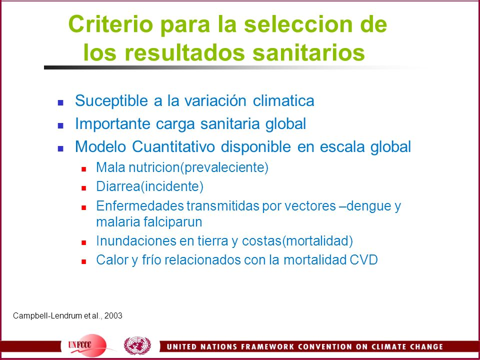 Criterio para la seleccion de los resultados sanitarios